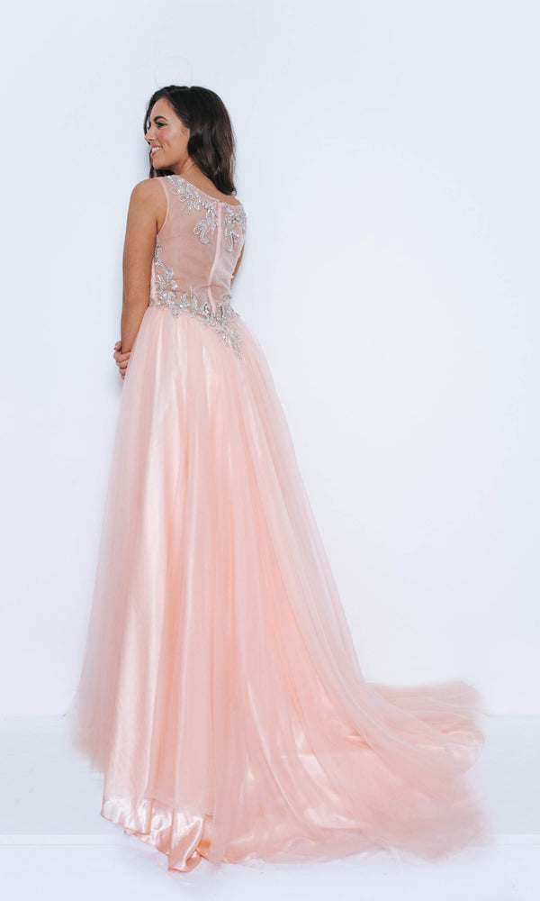 1023411 Blush Pink Dynasty Sweetheart Neckline Sheer Back Ballgown