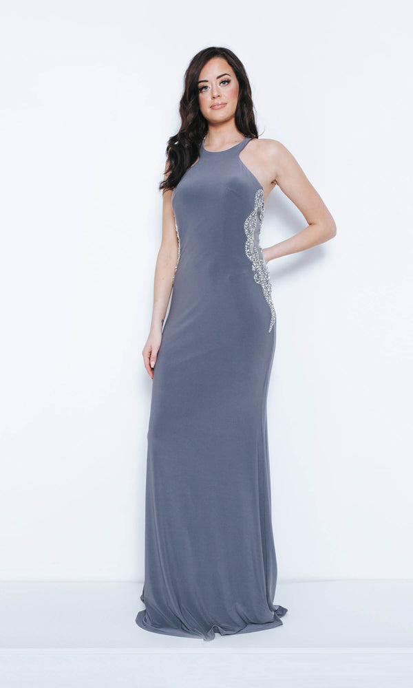 1023419 Pewter Dynasty Halterneck Dress With Side Panels - Fab Frocks