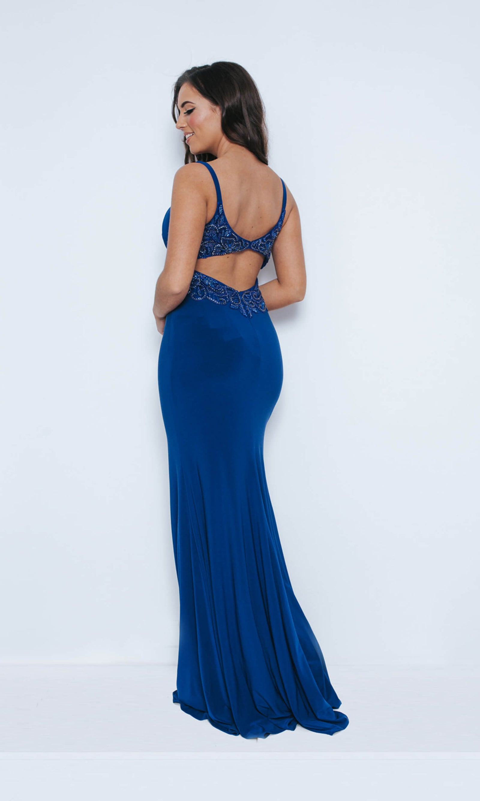 1023427 Royal Blue Dynasty Plunge Neckline Fishtail Dress - Fab Frocks