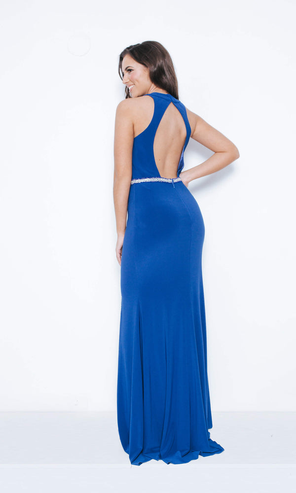 1023428 Royal Blue Dynasty Backless Red Carpet Dress - Fab Frocks