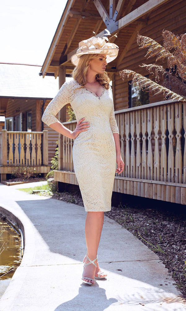 1073019 Champagne Dynasty Lace V Neck Occasion Dress - Fab Frocks