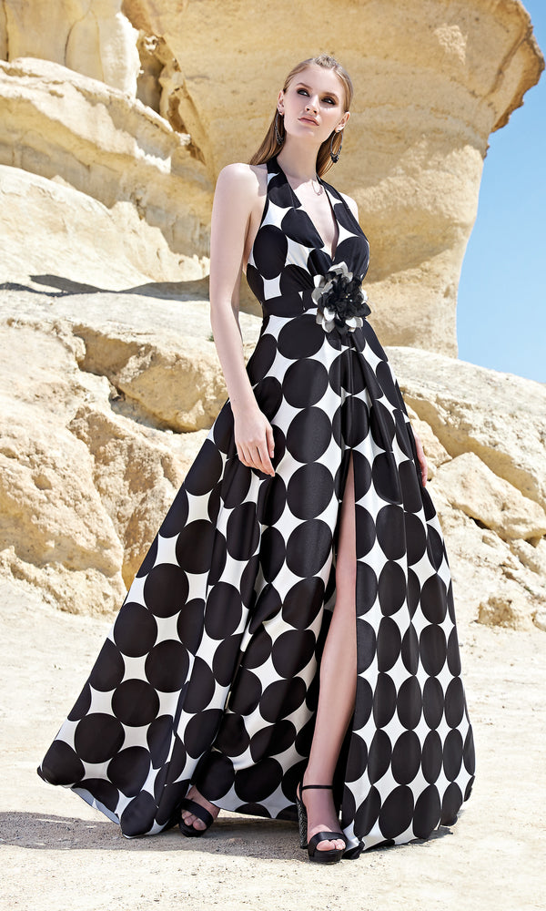 1200127 Black White Sonia Pena Diamond Print Halter Neck Dress