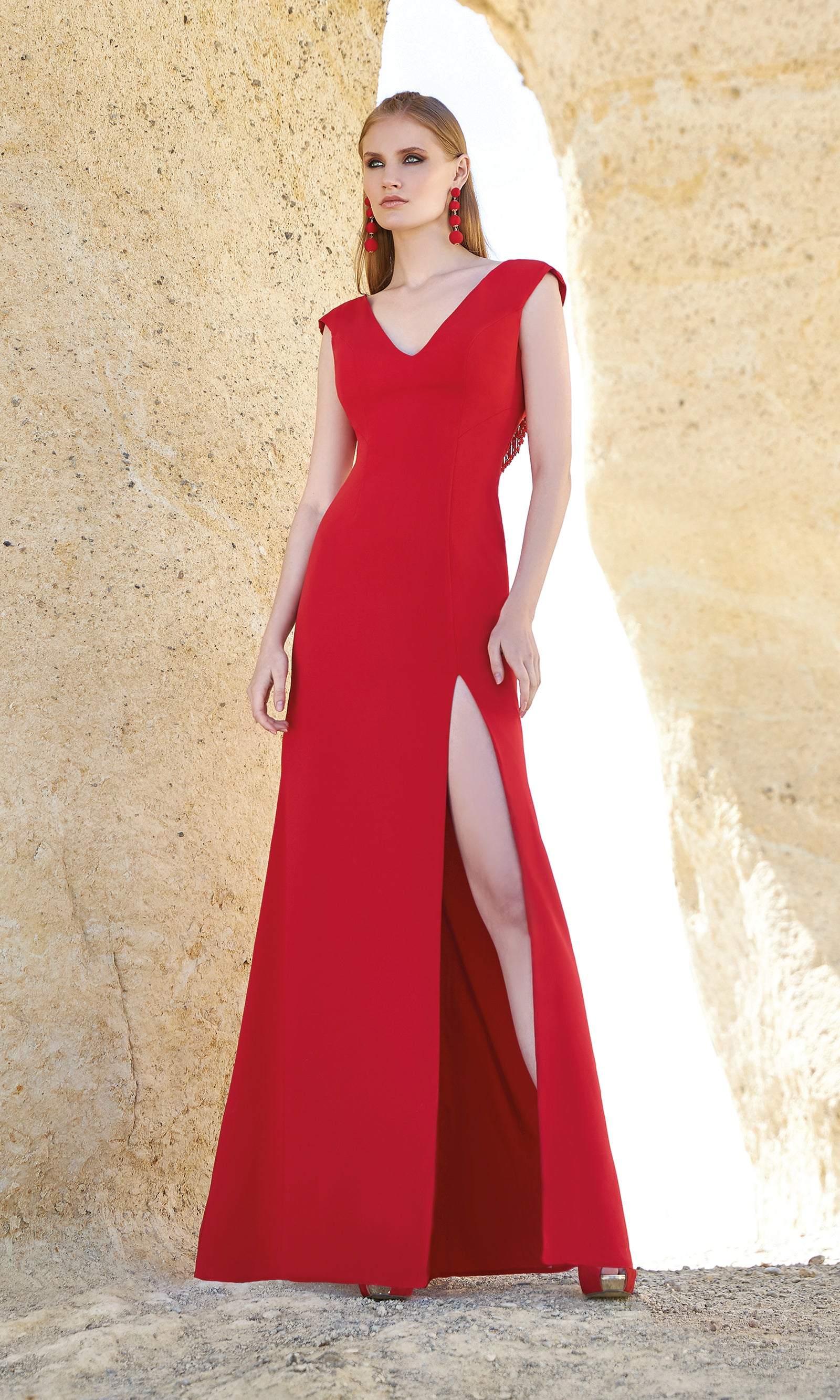 1200140A Red Sonia Pena Low Back Evening Prom Dress - Fab Frocks