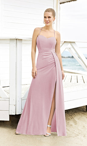 1203018A Pink Sonia Pena Low Tie Back Glitter Dress - Fab Frocks