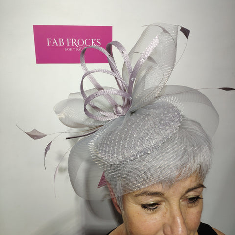 Luis Civit 809 Pale Silver Diamante Fascinator With Netting - Fab Frocks