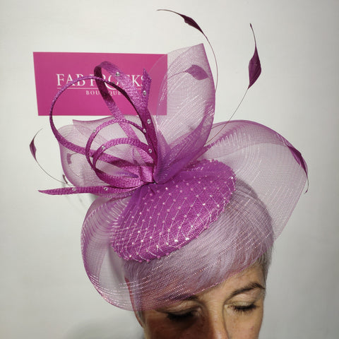 Luis Civit 809 Magenta Diamante Fascinator With Netting - Fab Frocks
