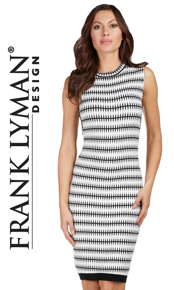 173107U Black White Frank Lyman Sleeveless Knit Dress