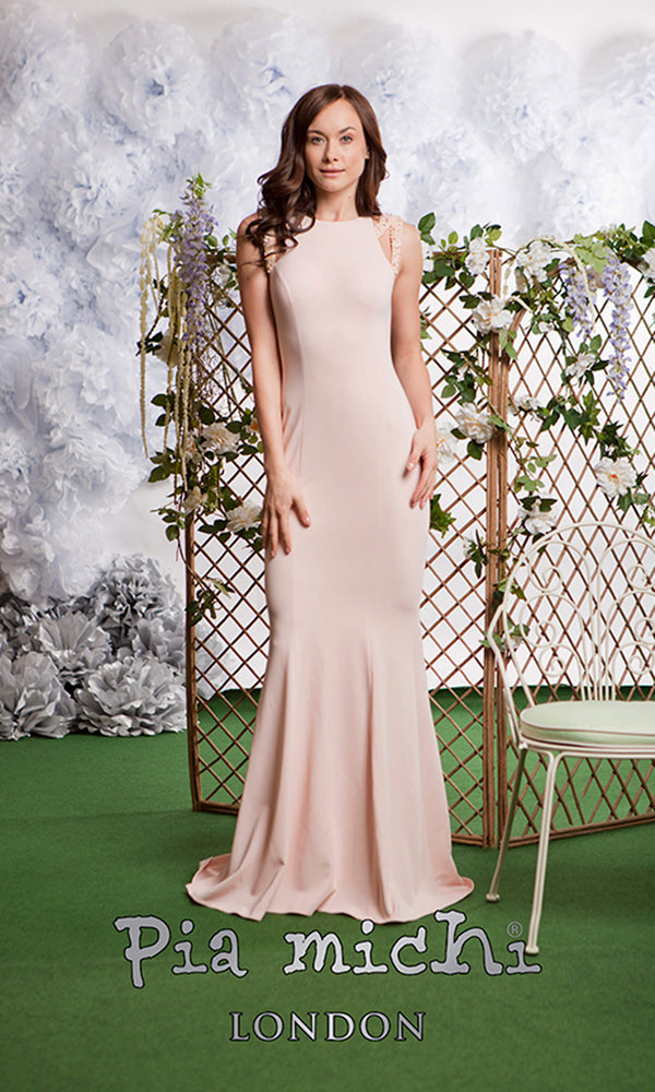 1743 Blush Pink Pia Michi High Neck High Back Red Carpet Dress