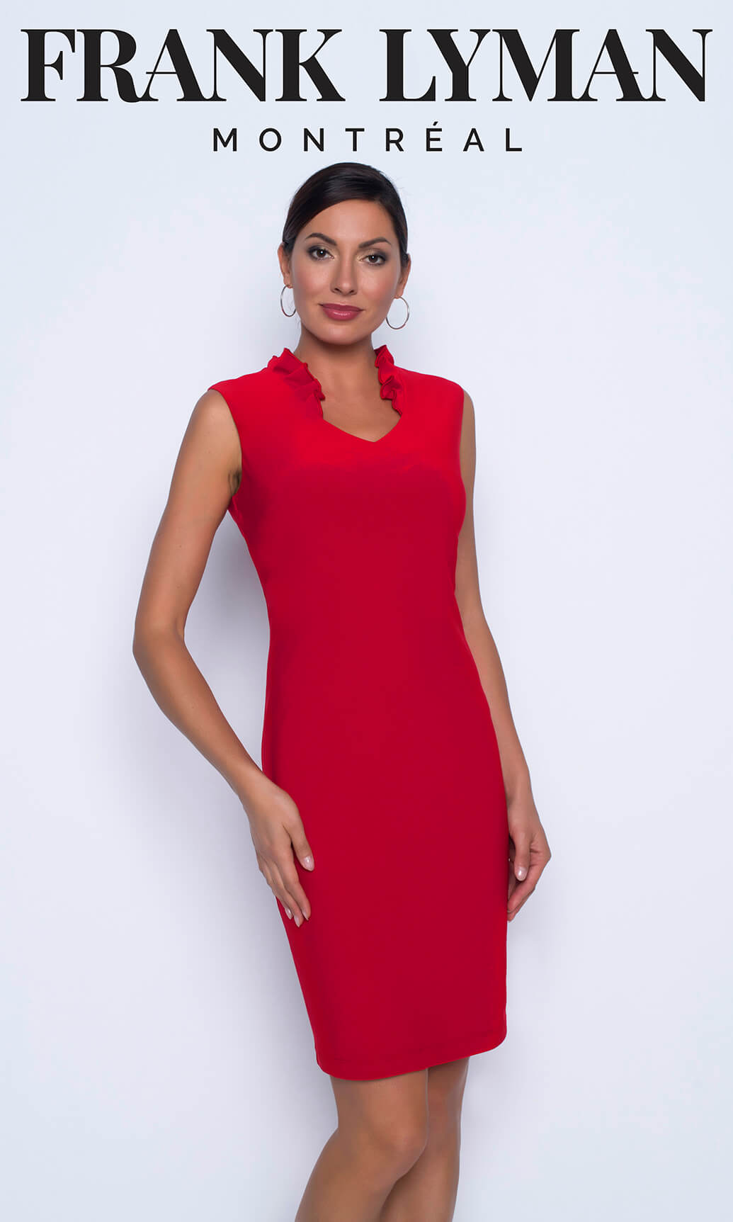 196056 Tomato Red Frank Lyman Jersey Ruffle Collar Dress