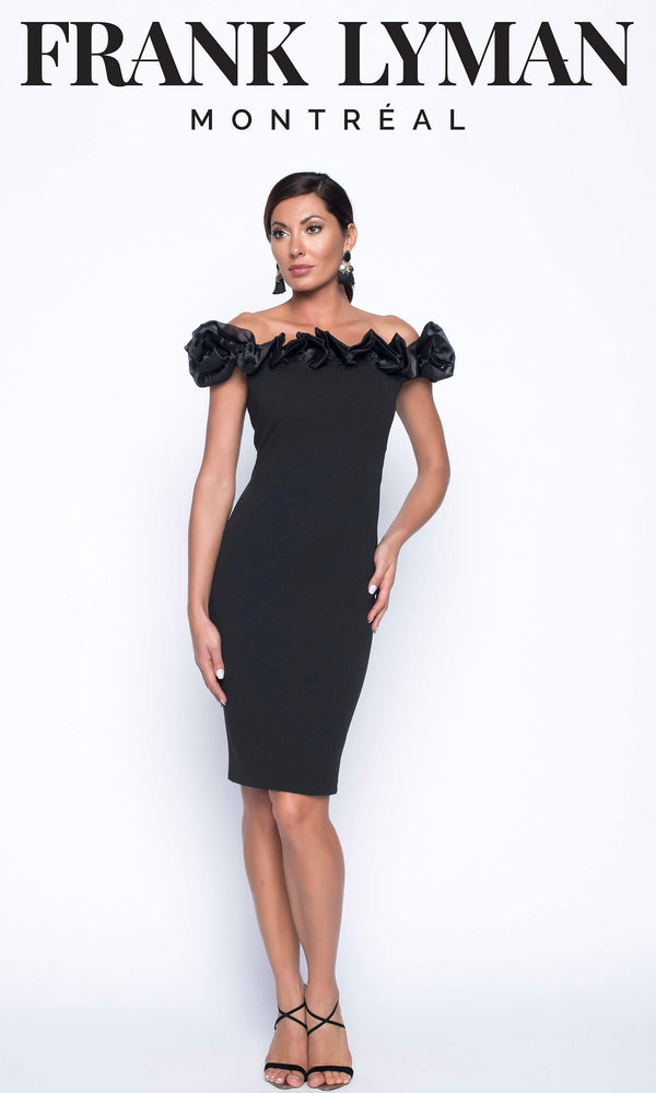 199105U Black Frank Lyman Off The Shoulder Cocktail Dress