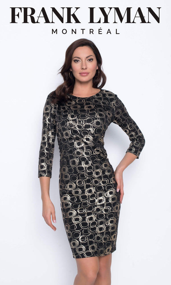 203550 Black Gold Frank Lyman Wrap Style Dress - Fab Frocks