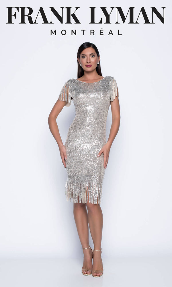 208115U Beige Silver Frank Lyman Tassel Sequin Party Dress