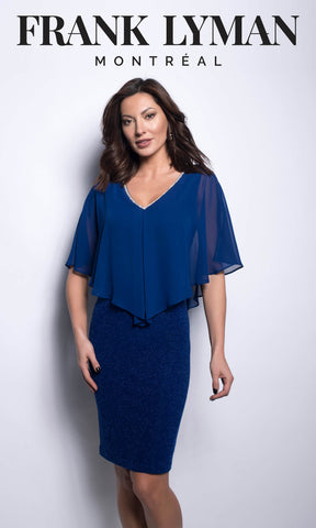 209373 Royal Blue Frank Lyman Cocktail Dress With Cape - Fab Frocks