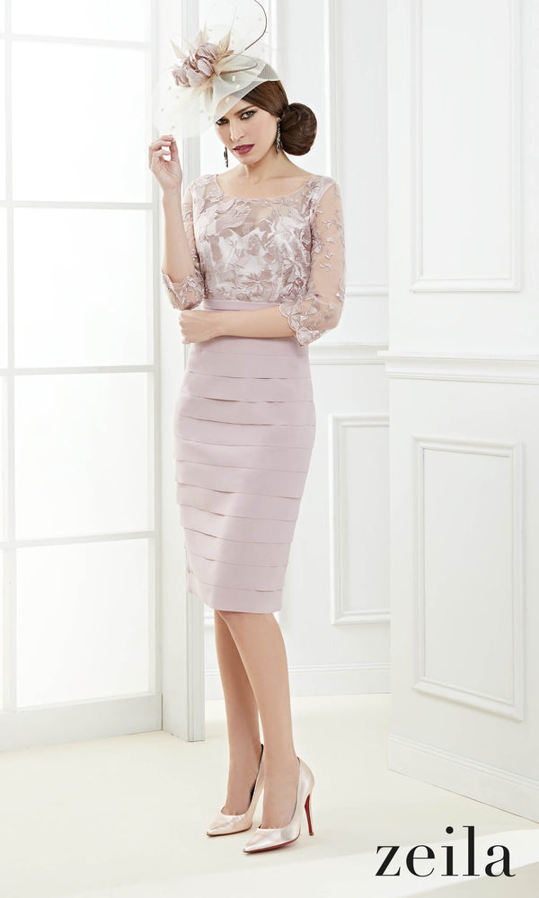 3020561 Dusty Pink Zeila Layered Dress Sleeves & Bolero