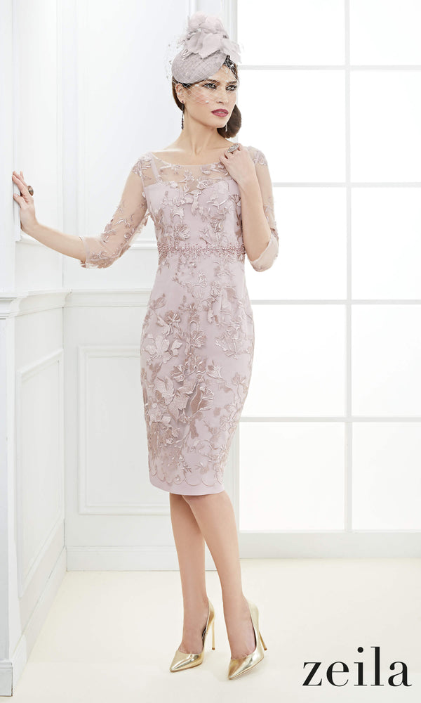 3020564 Dusty Pink Zeila Occasion Dress With Sleeves