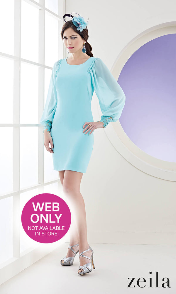 3020779 Aqua Zeila Occasion Dress With Sleeves - Fab Frocks