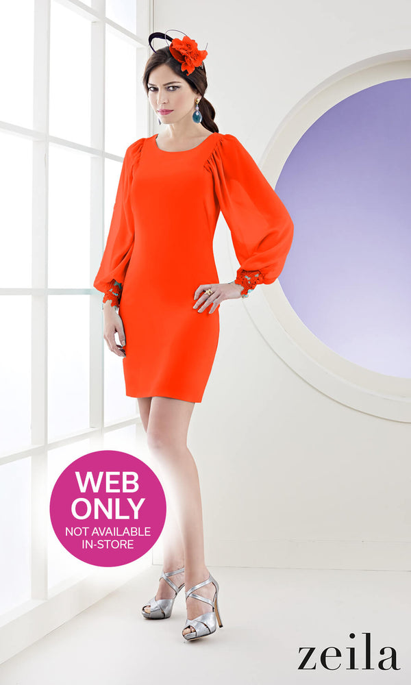 3020779 Coral Zeila Occasion Dress With Sleeves - Fab Frocks