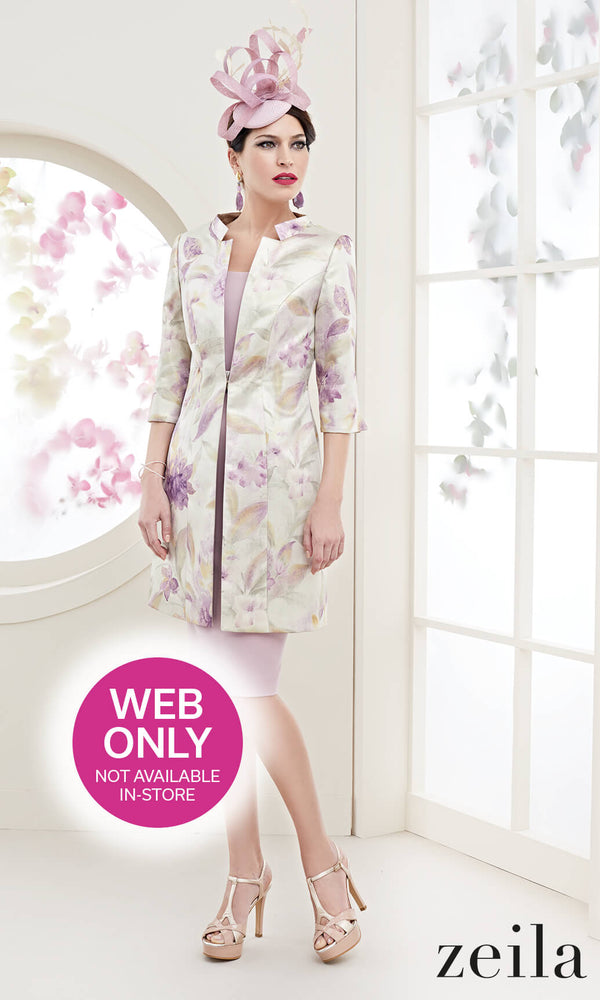 3020816 Dusky Pink Zeila Dress With Floral Print Coat