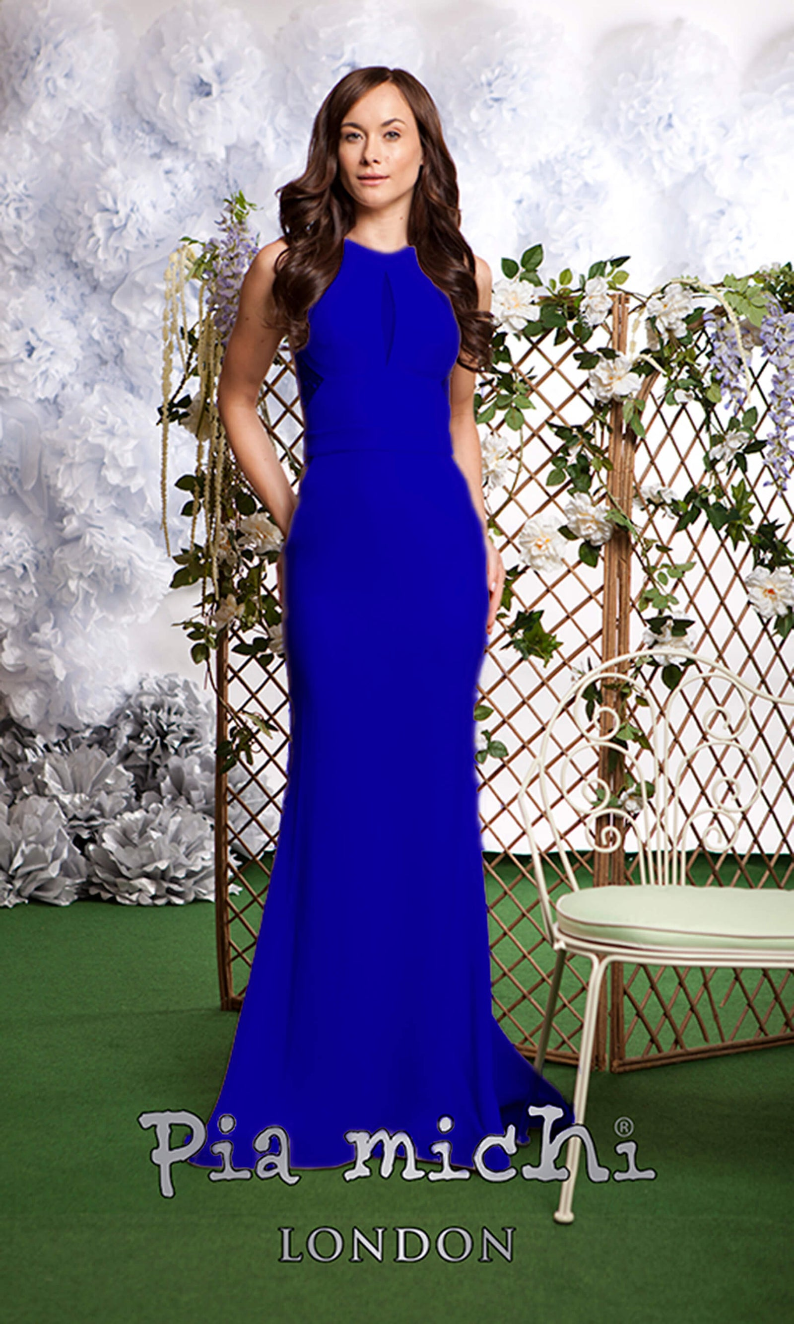 3113 Blue Pia Michi Racer Back High Neck Evening Dress - Fab Frocks