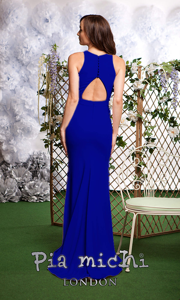 3113 Blue Pia Michi Racer Back High Neck Evening Dress
