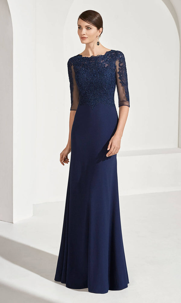 3G123 Navy Couture Club Evening Dress With Sleeves