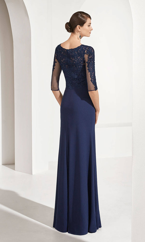 3G123 Navy Couture Club Evening Dress With Sleeves - Fab Frocks