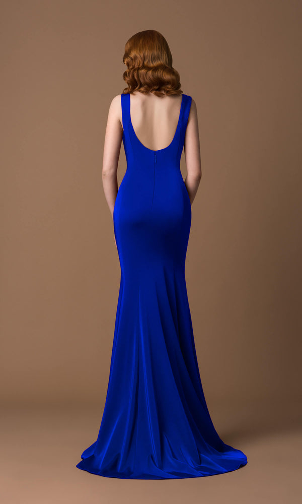 4054J Royal Blue Gino Cerruti Low Back Plunge Front Dress