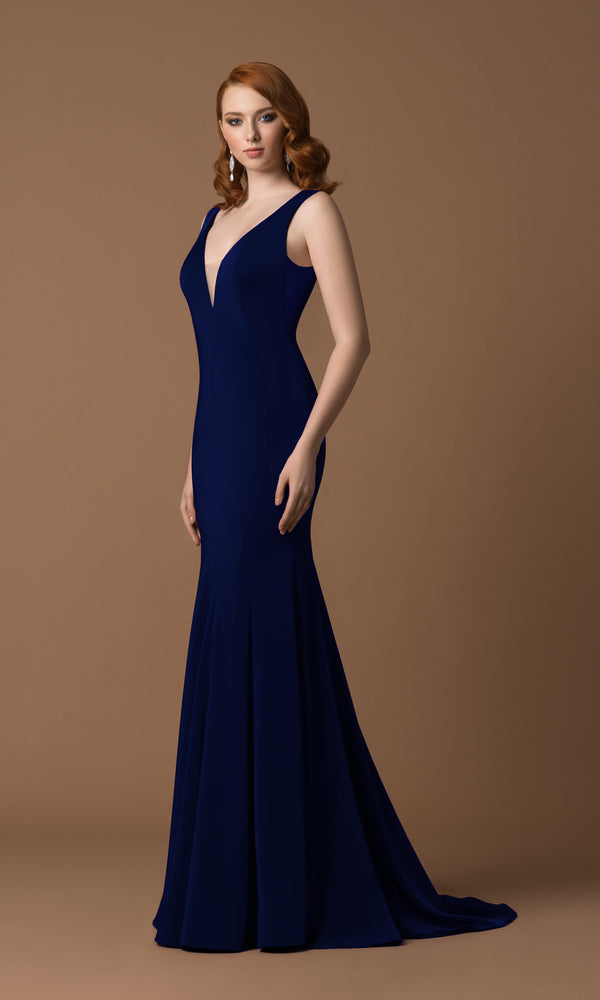 4054J Navy Gino Cerruti Plain Jersey Evening Prom Dress