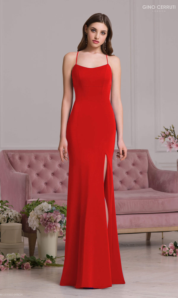 4077S Red Gino Cerruti Jersey Simple Prom Evening Dress