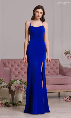 4077S Royal Blue Gino Cerruti Simple Backless Evening Prom Dress