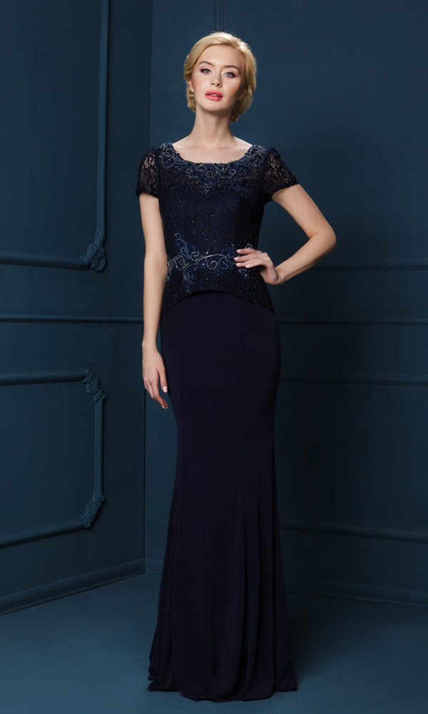 4222S Navy Gino Cerruti Evening Dress With Cap Sleeves - Fab Frocks
