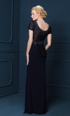 4222S Navy Gino Cerruti Evening Dress With Cap Sleeves