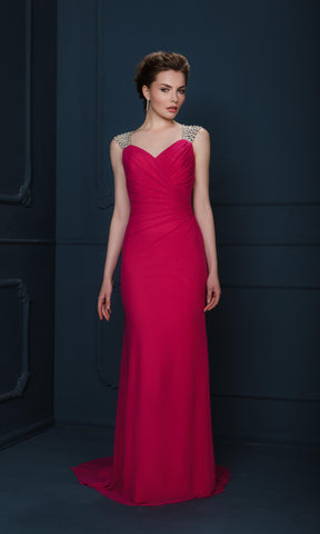 4360F Fuchsia Gino Cerruti Dress With Wide Crystal Straps