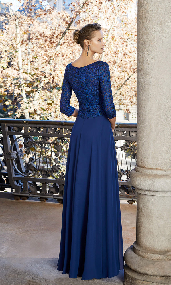 4G118 Navy Couture Club Floaty Evening Dress With Sleeves
