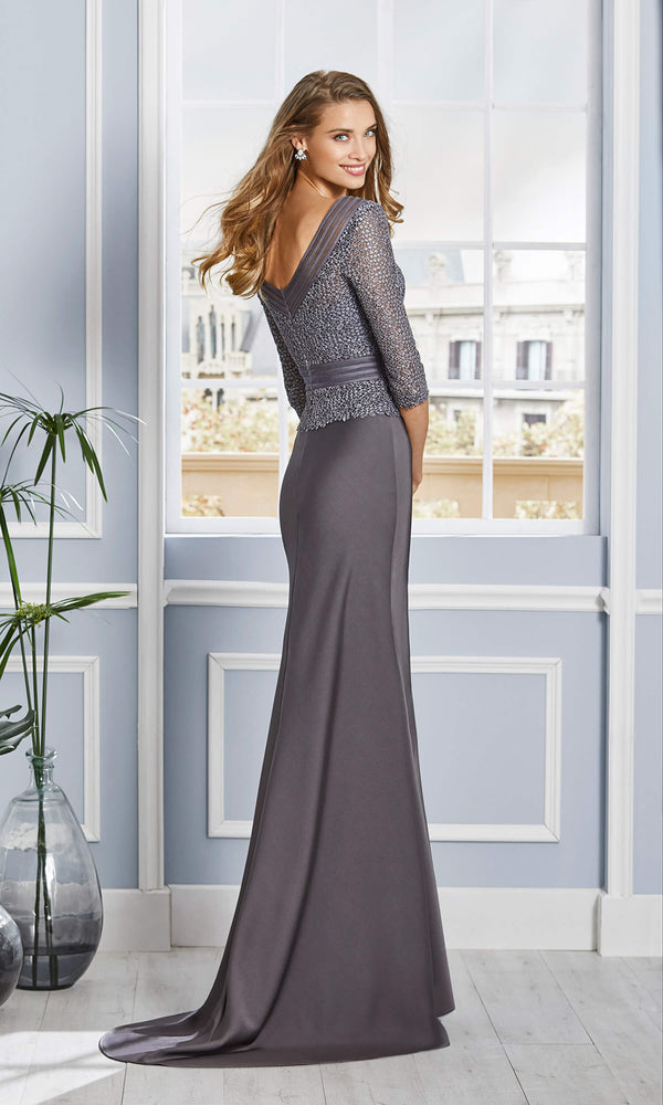 4G119 Smoke Grey Couture Club Evening Dress With Sleeves - Fab Frocks