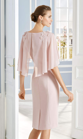 4G160 Pink Couture Club Occasion Dress With Cape - Fab Frocks