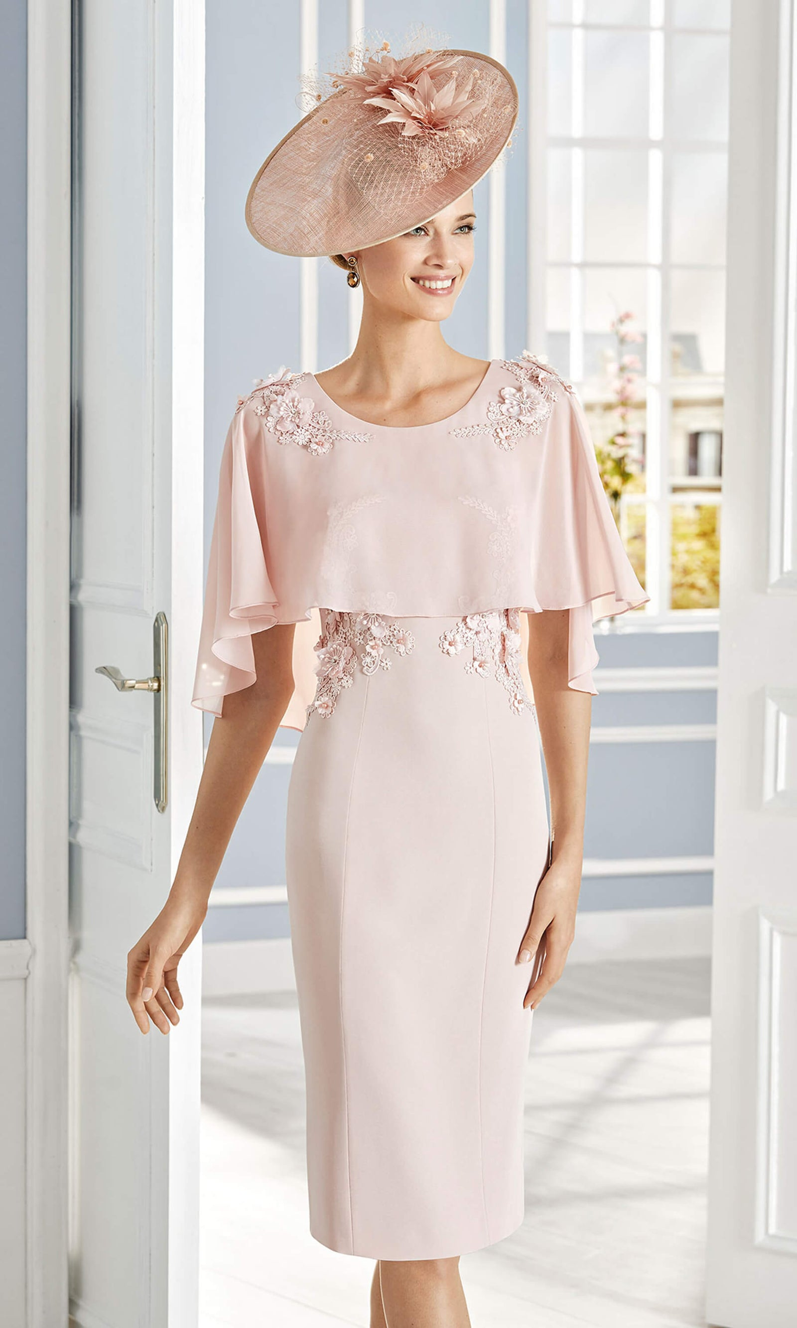 4G160 Pink Couture Club Occasion Dress With Cape