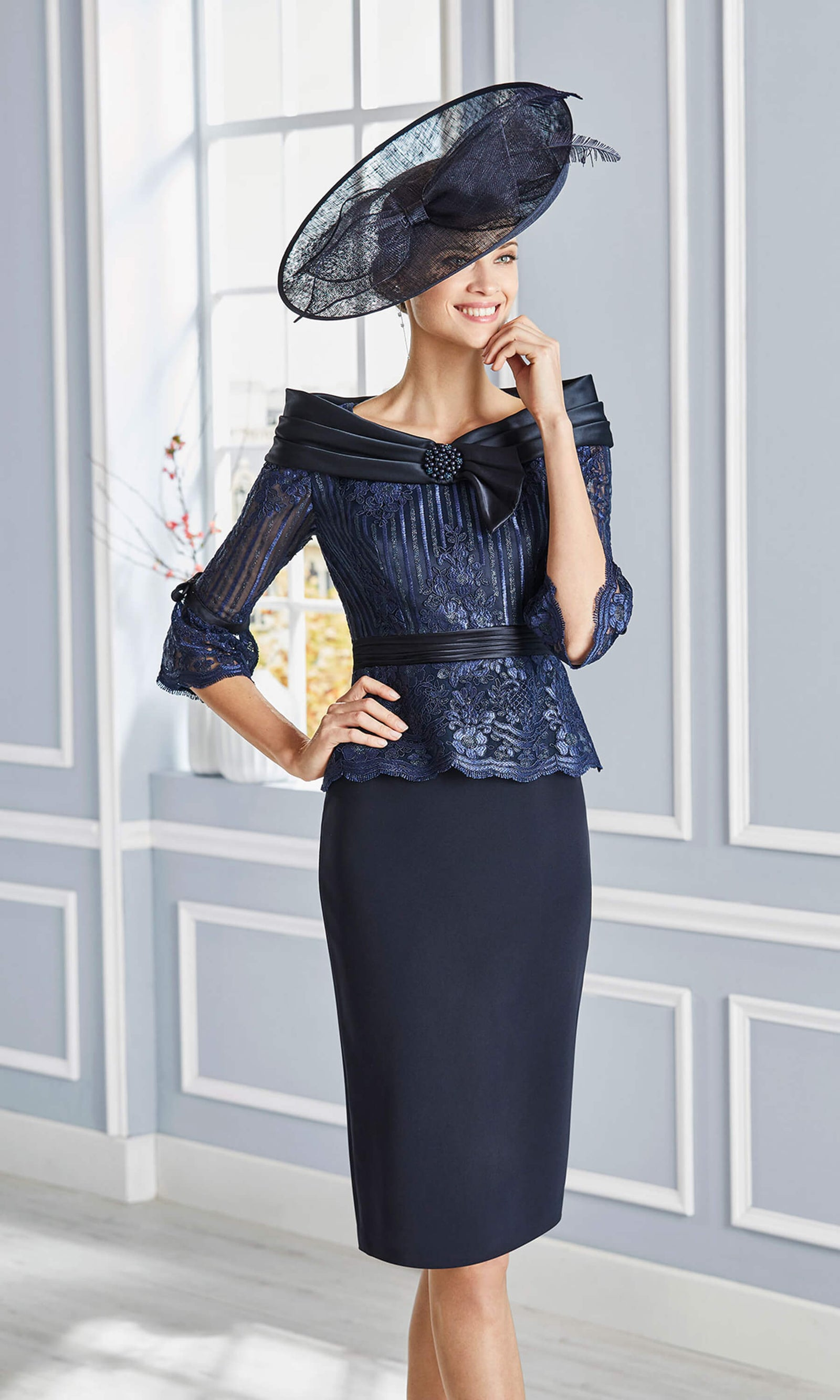 4G183 Navy Couture Club Boat Neckline Occasion Dress