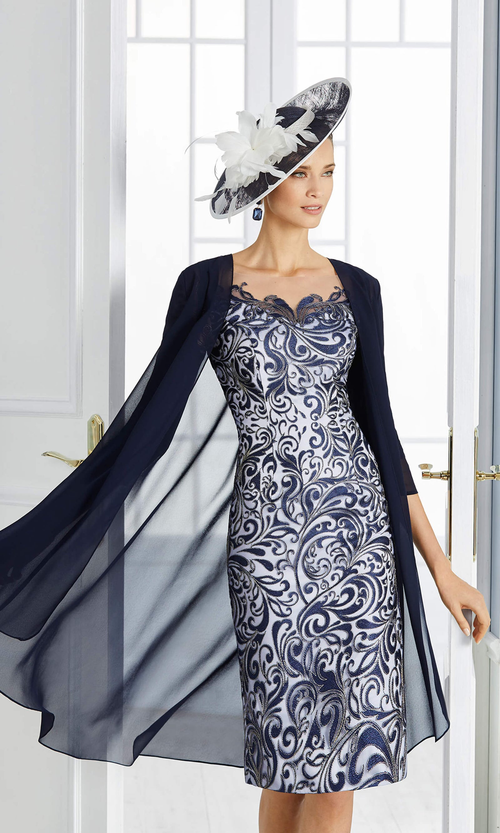 4G246 Navy Couture Club Dress & Long Chiffon Jacket