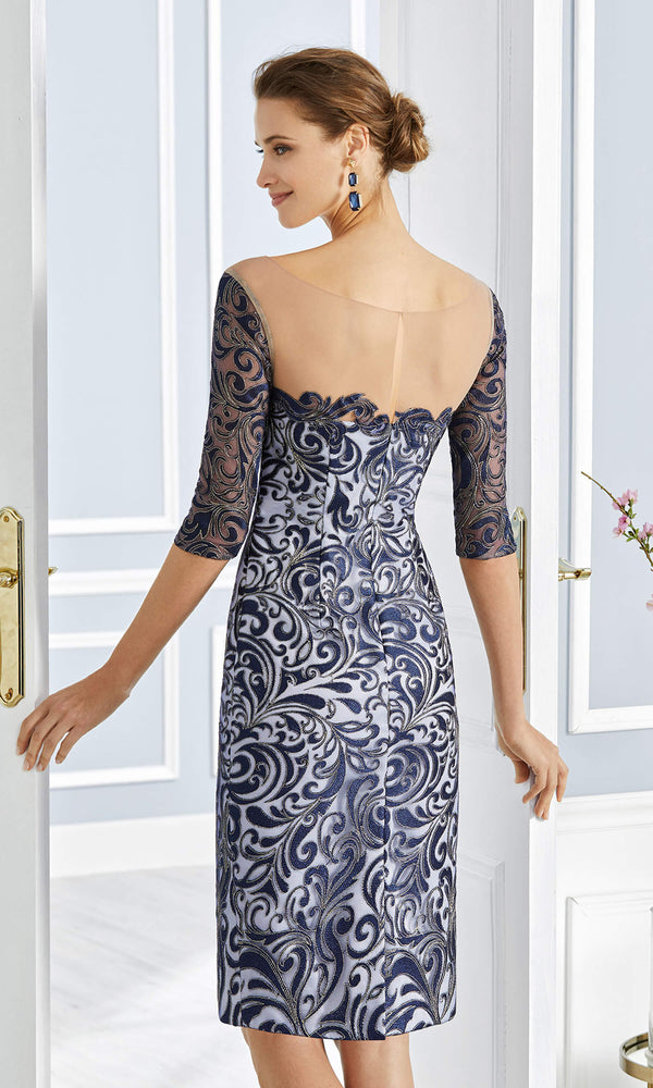 4G246 Navy Couture Club Dress & Long Chiffon Jacket - Fab Frocks