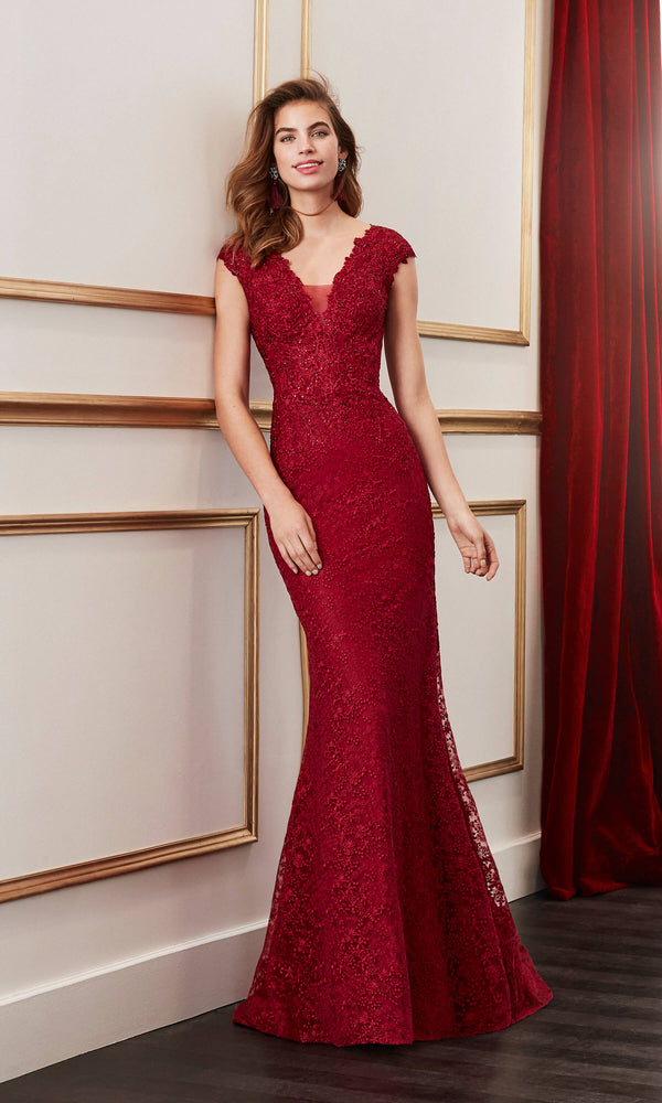 4J156 Bordeaux Marfil Lace Evening Dress With Plunging Neckline