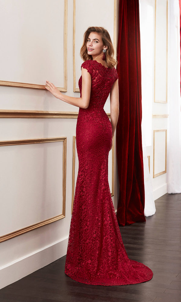 4J156 Bordeaux Marfil Lace Evening Dress With Plunging Neckline - Fab Frocks
