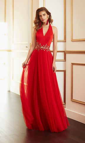 4J1A5 Red Marfil Pleated Net Low Back Halterneck Evening Dress