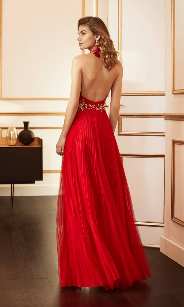 4J1A5 Red Marfil Pleated Net Low Back Halterneck Evening Dress - Fab Frocks