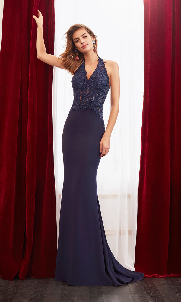 4J220 Navy Marfil Halterneck Evening Dress With Train - Fab Frocks