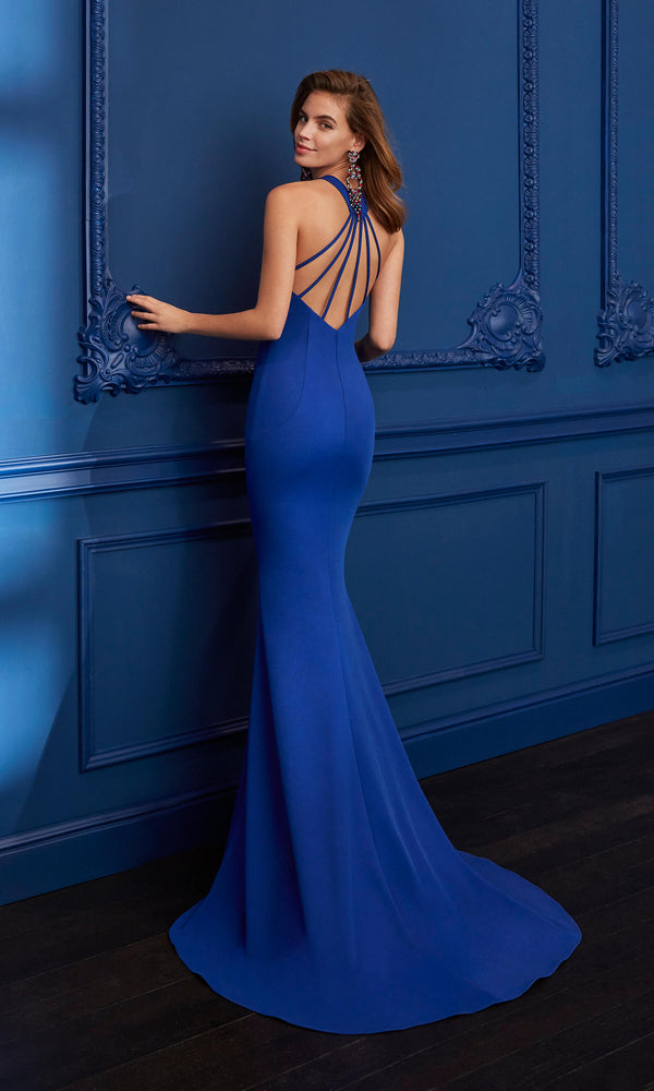 4J221 Cobalt Marfil Low Back Keyhole Front Evening Dress