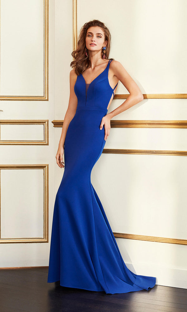 4J222 Cobalt Marfil Low Back Fit & Flare Evening Dress - Fab Frocks
