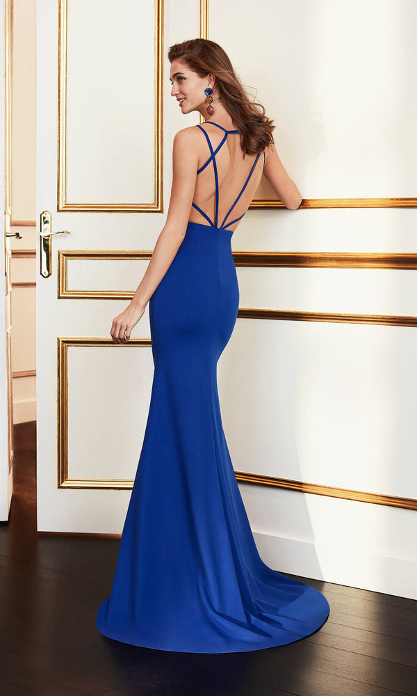 4J222 Cobalt Marfil Low Back Fit & Flare Evening Dress