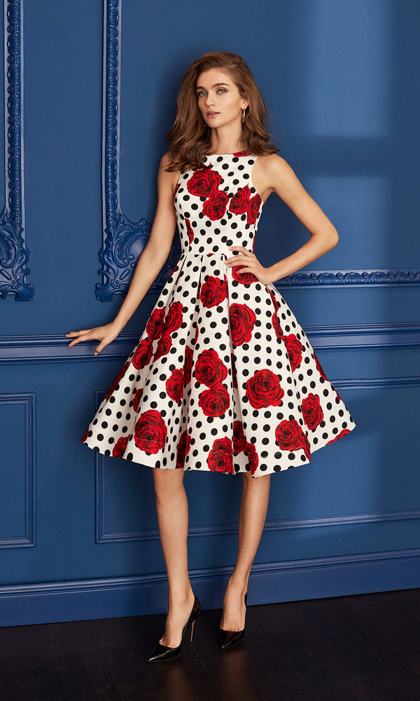4J1B5 Red White Marfil Rose Polka Dot Fifties Style Tea Dress