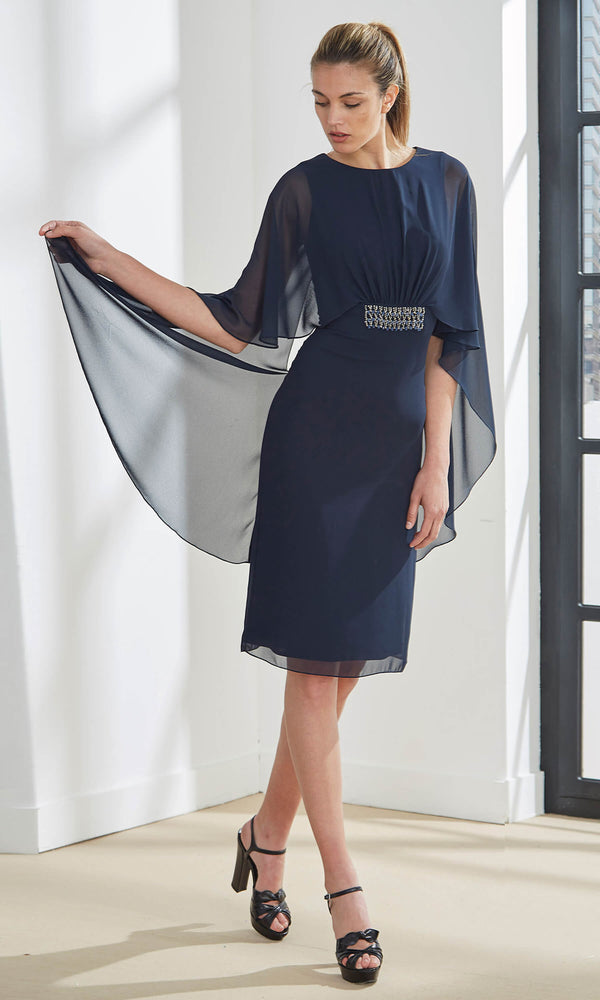 4U155 Navy Aire Barcelona Short Cocktail Dress With Cape - Fab Frocks